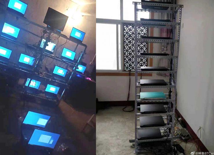 Granja de minado con portátiles gaming