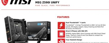 MSI MEG Z590I Unity: Placa base Mini-ITX con soporte para memoria DDR4 @ 5600 MHz