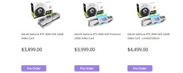 La GALAX GeForce RTX 3090 HOF Limited Edition aparece listada en Australia por 2.871 euros