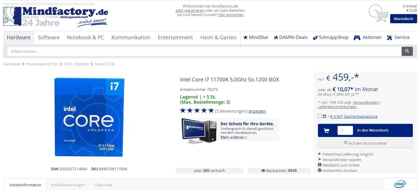 Mindfactory sigue vendiendo los procesadores Intel Core i7-11700K a un precio de 459 euros