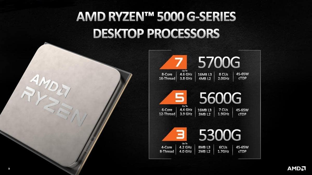 AMD lanza sus APUs de sobremesa Ryzen 7 5700G, Ryzen 5 5600G y Ryzen 3 5300G