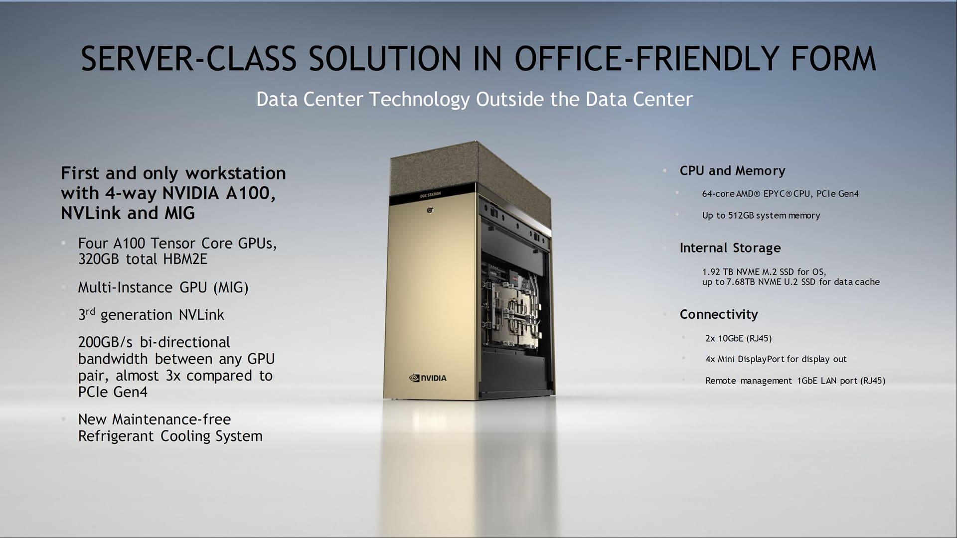 Nvidia DGX Station 320G: Servidor con CPU AMD EPYC de 64 núcleos y 4x GPUs Nvidia A100