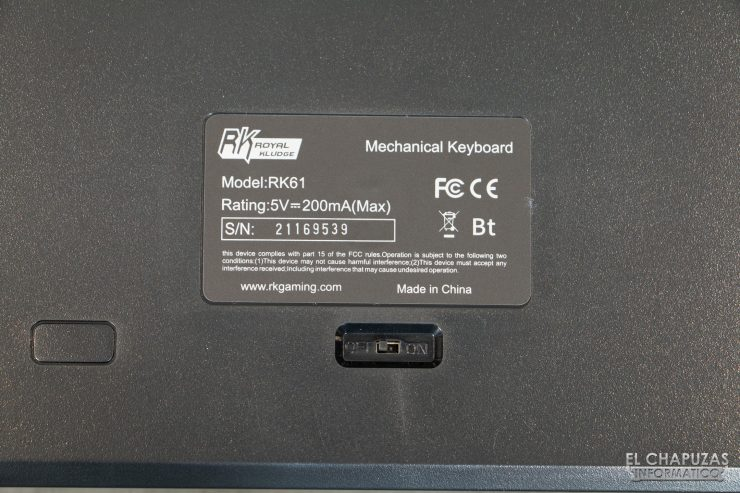 Royal Kludge RK61 - Interruptor Bluetooth