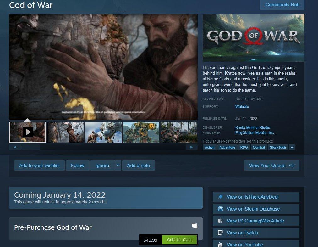 God of War aparece listado en Steam para el 14 de enero por 49,99 dólares